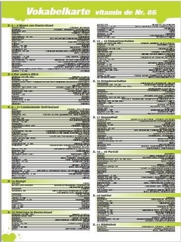 Vitamin de Ausgabe 85 Vokabelkarte